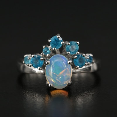 Sterling Opal and Apatite Ring