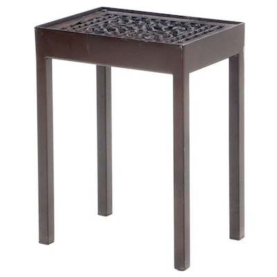 Cast Iron Grate-on-Stand End Table