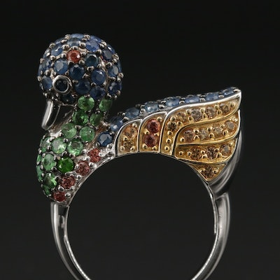 Sterling Duck Ring with Ruby, Diopside, Sapphire and Fancy Sapphire