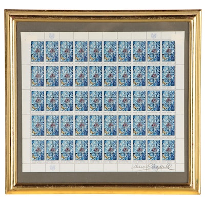 United Nations Uncut Postage Stamps After Marc Chagall with Signature, 1967