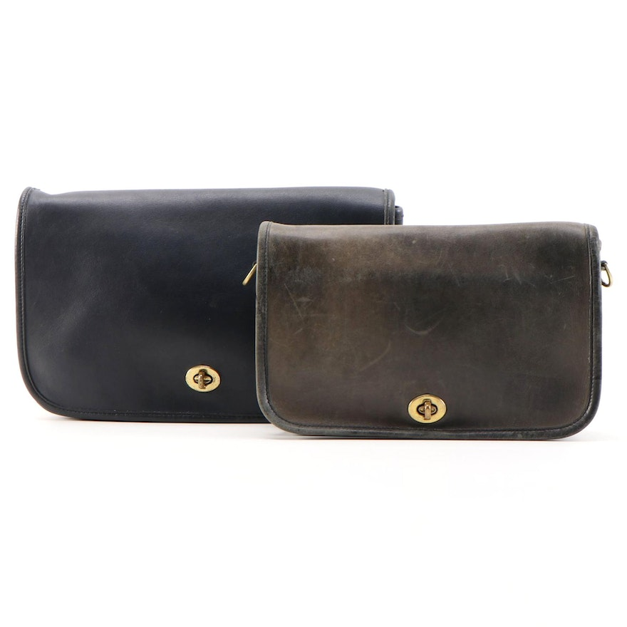 Coach Convertible Shoulder Bag Clutches in Blue Glove-Tanned Leather, Vintage