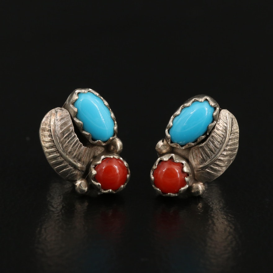 Western Style Sterling Silver Coral and Turquoise Earrings