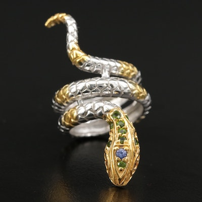 Sterling Silver Snake Ring Featuring Diopside, Tanzanite, and Topaz