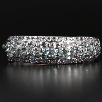 Sterling Silver Aquamarine and Tanzanite Openwork Cuff Bracelet