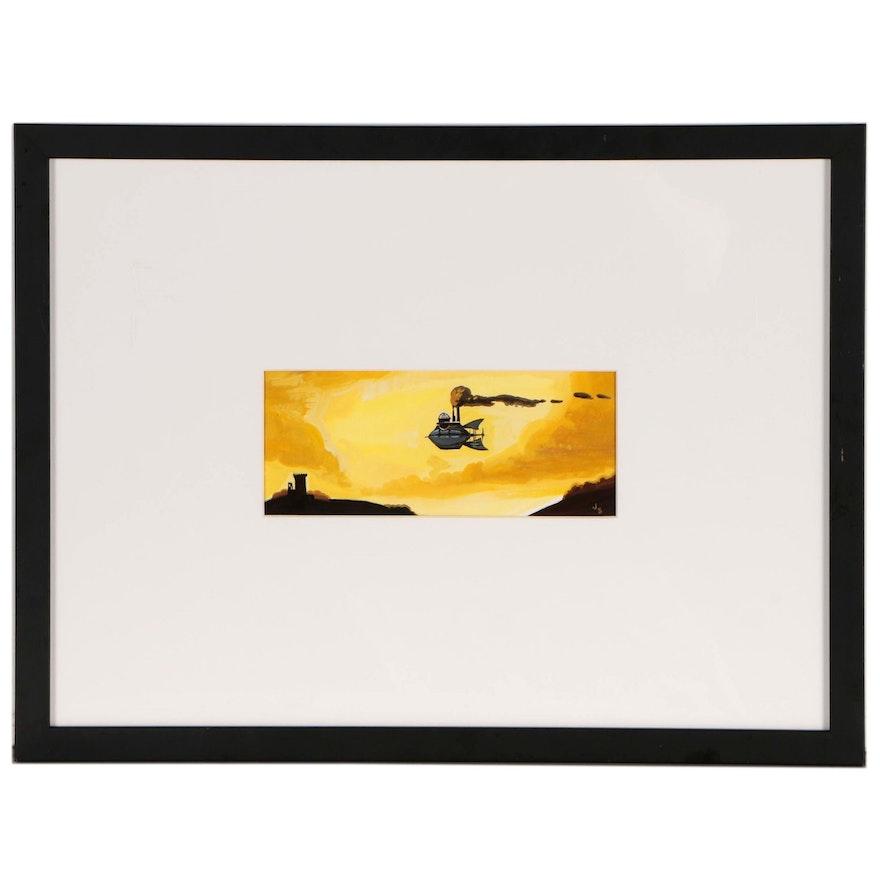 "Jay Sopp Gouache Painting ""Ship Over Blarney"", 2005"