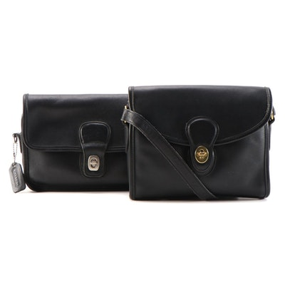 Coach Devon Crossbody Bag and Clutch in Black Glove-Tanned Leather