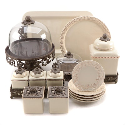 Gracious Goods Metal Mounted Earthenware Table Accessories and Serveware