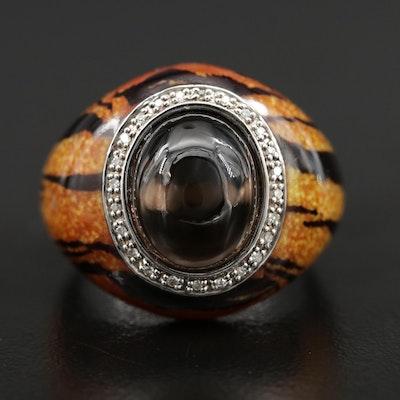 Sterling Silver Smoky Quartz, Diamond and Enamel Ring