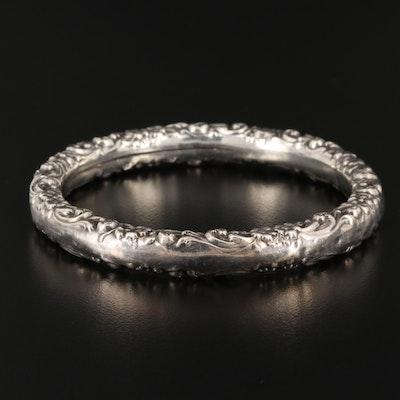 Sterling Floral Motif Bangle Bracelet