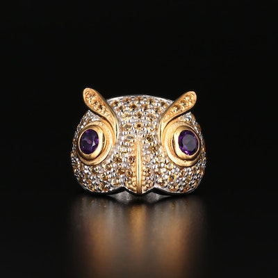 Sterling Silver Amethyst and Sappphire Owl Ring