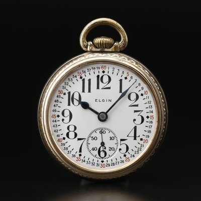 1918 Elgin Gold Filled Open Face Pocket Watch