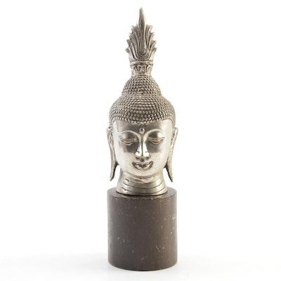 Tibetan Shakyamuni Buddha Head Metal Sculpture, Mid to Late 20th Century