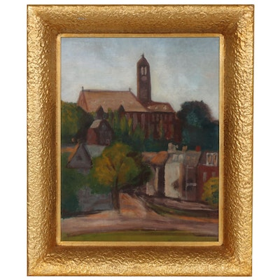 Oil Painting of a Church,  Early to Mid-20th Century