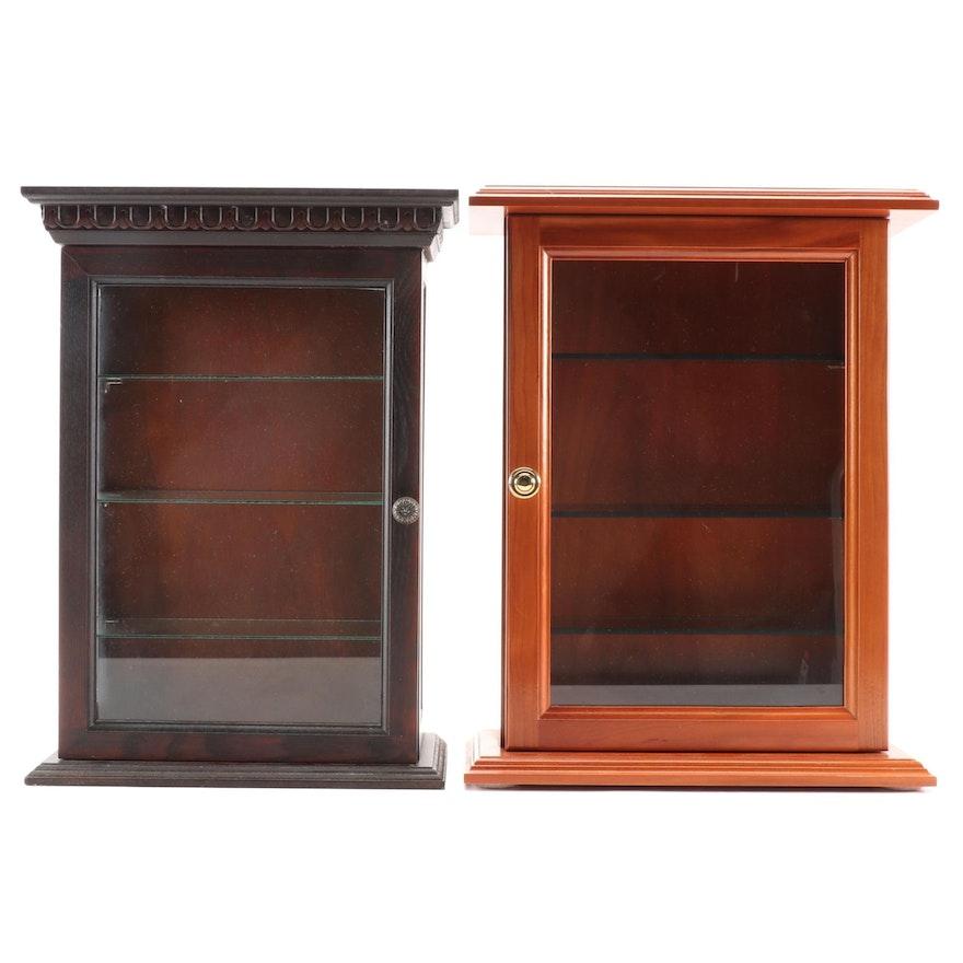 Thomas Tulloss Tabletop Walnut Display Cabinet and a Mahogany-Finish Cabinet