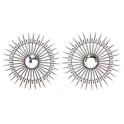 Pair of French Metal Sunburst Convex Mirrors, Mid-20th Century