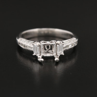 Platinum Diamond Semi-Mount Ring