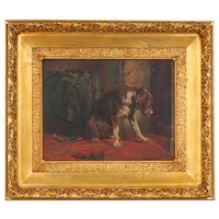 Oil Painting of a Forlorn Dog, Late 19th Century