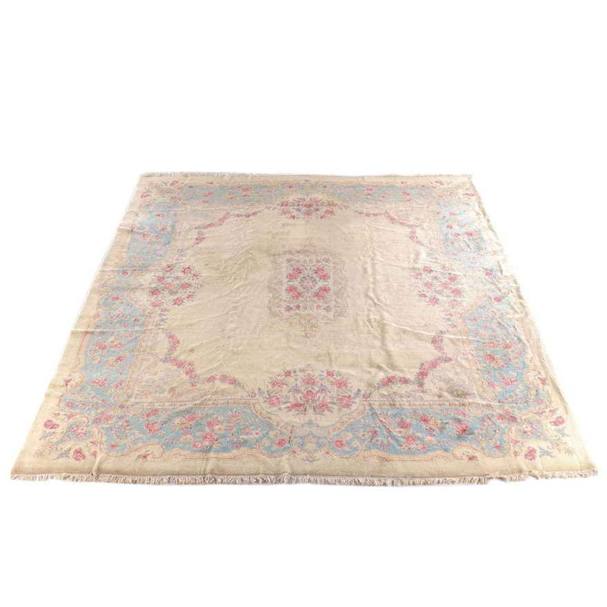 12'7 x 15'5 Hand-Knotted Persian Kerman Wool Room Sized Rug
