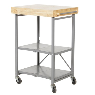 Butcher Block Folding Rolling Cart, Contemporary