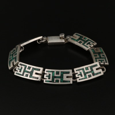 Mexican Sterling Silver Malachite in Resin Panel Bracelet