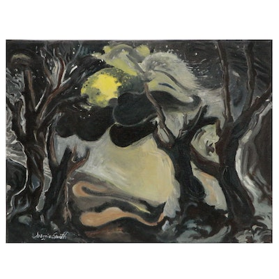 Maggie Smith Surrealist Style Nocturne Landscape Oil Painting, 21st Century