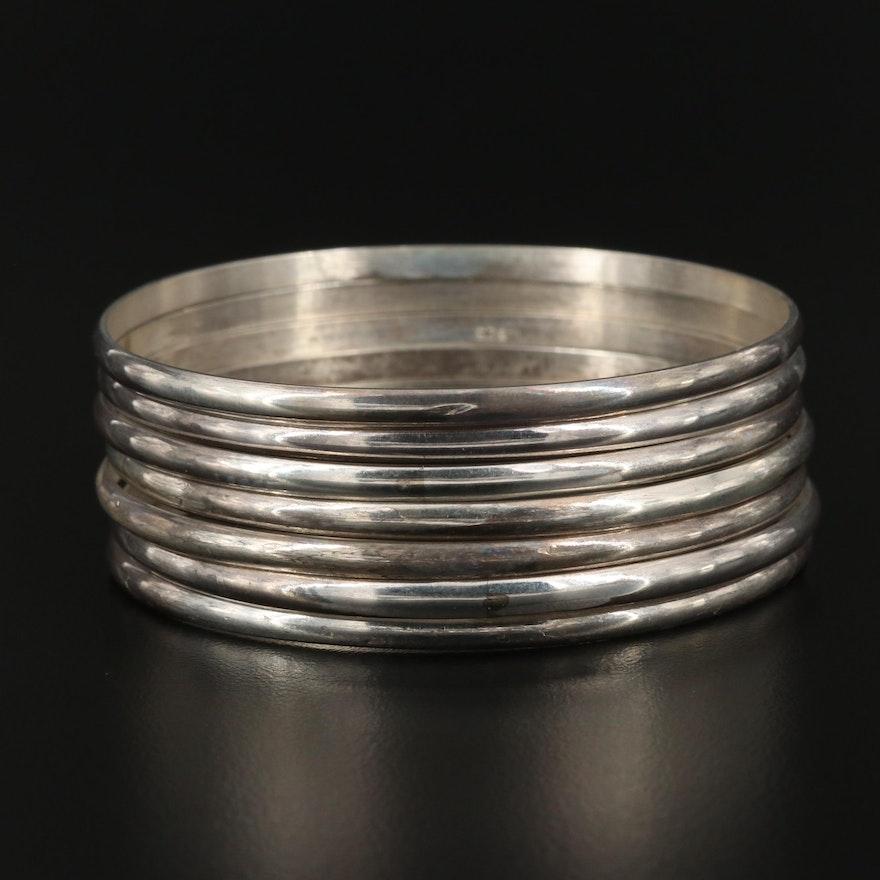 Sterling Silver Bangle Bracelet Set