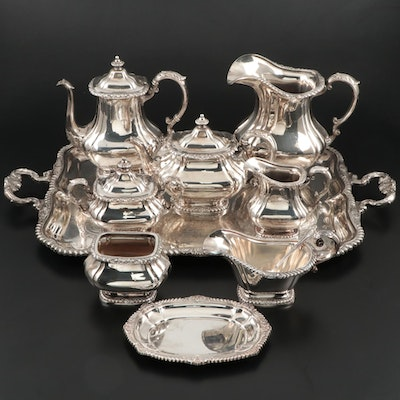 "Gorham ""Shell & Gadroon"" Silver Plate Tea and Coffee Service with Waiter Tray"