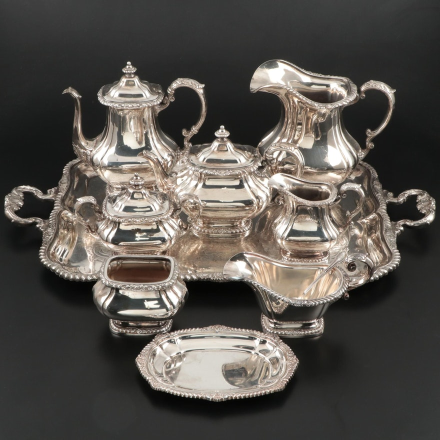 """Gorham """"Shell & Gadroon"""" Silver Plate Tea and Coffee Service with Waiter Tray"""
