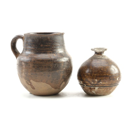 Chinese Glazed Brown Pitcher with Thai Sawankhalok Jarlet
