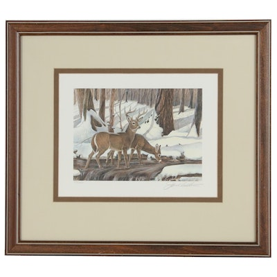"John Ruthven Offset Lithograph ""White-tailed Deer"""
