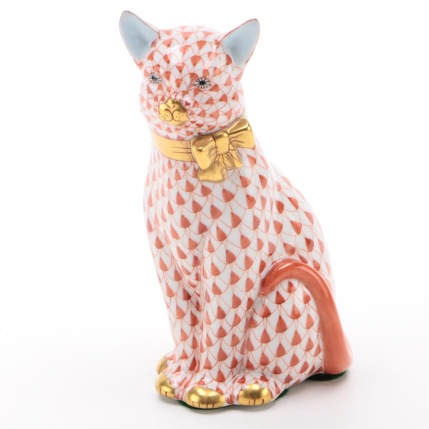 """Herend Rust Fishnet with Gold """"Cat with Ribbon"""" Porcelain Figurine"""