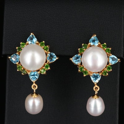 Sterling Silver Cultured Pearl, Topaz and Diopside Dangle Earrings