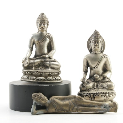 Metal Seated and Reclining Buddha Figurines, Late 20th Century
