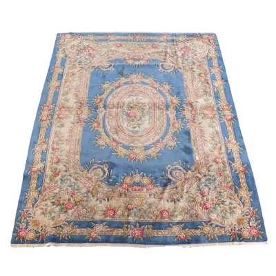 9'1 x 12'4 Hand-Knotted Chinese Carved Wool Rug
