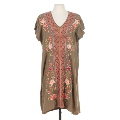 Johnny Was Libbie Embroidered Easy Knit Tunic Dress in Olive/Multicolor