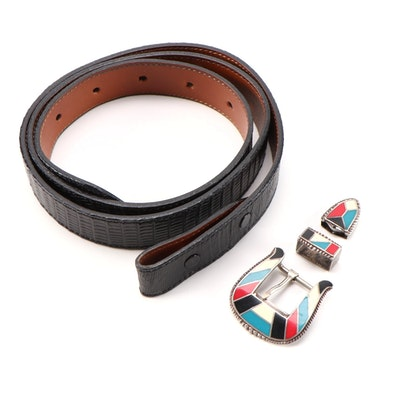 Sterling Silver with Enamel Inlay Buckle, Tip and Loop with Lizard/Leather Strap