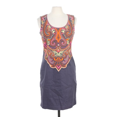 Muse Embroidered Fully Lined Sleeveless Shift Dress