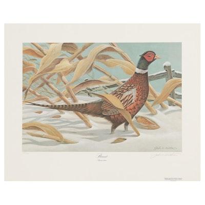 "John Ruthven Offset Lithograph ""Pheasant"", 1980"