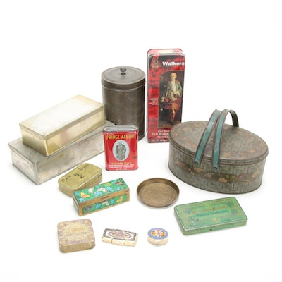 Tobacco, Watch, Pill and Various Other Tin Canister and Boxes, Antique
