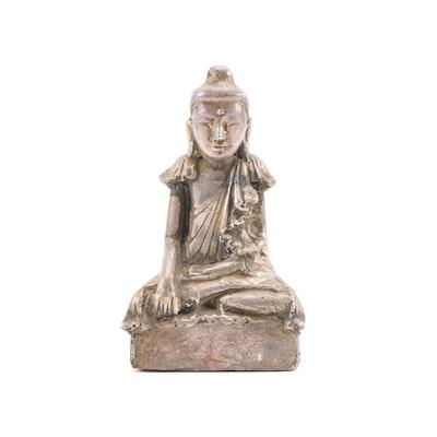 Burmese Hand Carved Wood Buddha, Late 20th Century