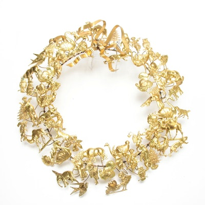 Victorian Style Petite Choses Dresden Brass Holiday Wreath