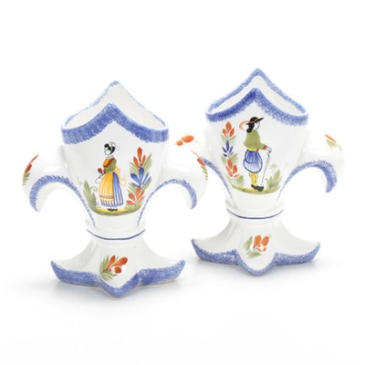 Henriot Quimper Hand-Painted Faïence Vases