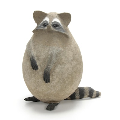 Folk Art Papier-Mâché Raccoon Sculpture