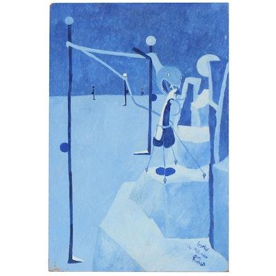 Charles Elmer Harris (Beni Kosh) Surrealist Oil Painting, 1968