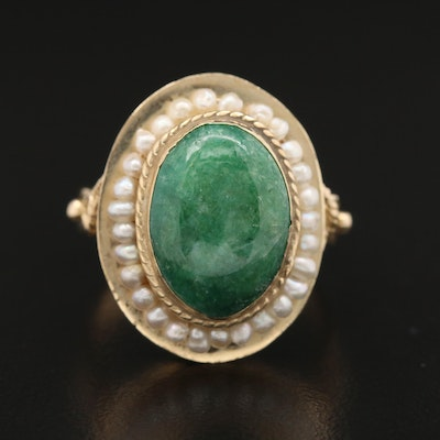 14K Jadeite and Seed Pearl Ring