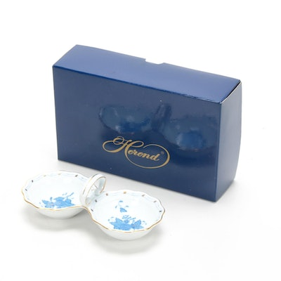 "Herend ""Blue Chinese Bouquet"" Porcelain Salt and Pepper Dish"