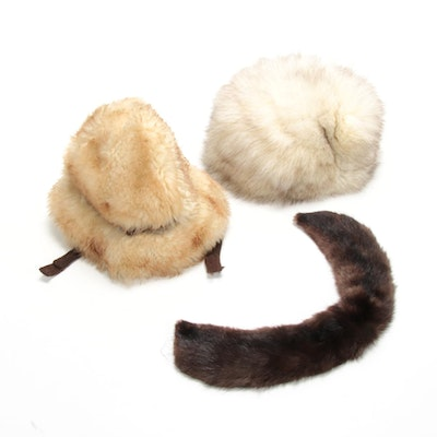 Fox and Tuscan Lamb Fur Hats with Rabbit Fur Collar, Vintage