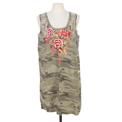 Johnny Was Adeline Embroidered Camo Side Button Sleeveless Tunic Dress