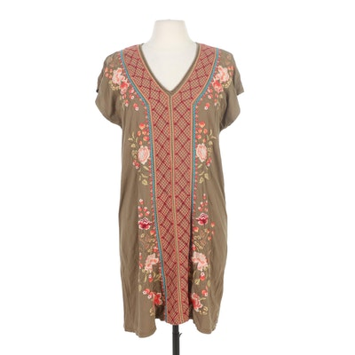 Johnny Was Libbie Embroidered Bohemian Easy Knit Tunic Dress in Olive/Mulitcolor