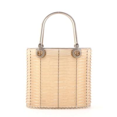 Salvatore Ferragamo Translucent Tube Basketweave Gancini Handbag, Vintage